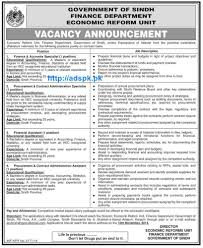jobs in govt of sindh finance department economic reform unit jobs in govt of sindh finance department economic reform unit karachi for