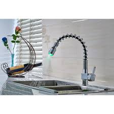 pull kitchen faucet color: flg kitchen faucet green red blue  color light changing pull out torneira deck