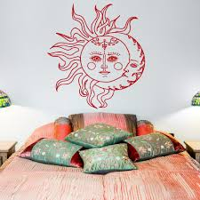 sun wall decal trendy designs: sun and moon wall decal sticker crescent moon decor ethnic symbol wall decals bedroom dorm