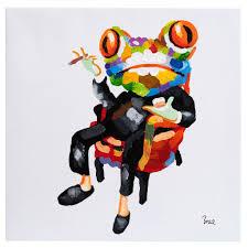 Cigar Smoking Frog. <b>100</b>% <b>hand painted</b> oil on canvas. Framed ...