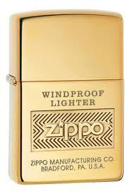 <b>Зажигалка</b> бензиновая <b>Windproof</b> (золотистая, глянцевая) от <b>Zippo</b>