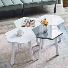 JYMTOM White <b>Coffee Table Set High</b> Gloss Hexagon Shaped End ...
