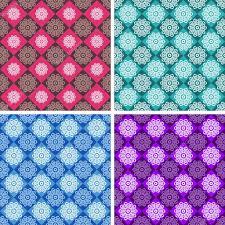 Set of <b>geometric patterns</b> of <b>red</b>, <b>green</b>, blue and purple colors.