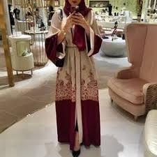 Muslim <b>Women</b> Front Open Abaya Dress <b>S</b>-<b>2XL Floral Print</b> Kaftan ...