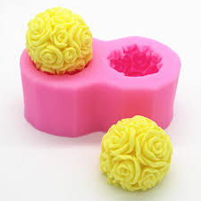 Flexible <b>3D</b> Rose Flower Ball Mould <b>Soft Silicone</b> Soap Candle ...