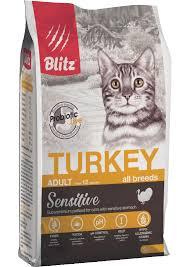 <b>Сухой корм Blitz</b> для взрослых кошек Индейка