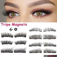 Natural Three <b>Magnet</b> 3D Long <b>Magnetic</b> False <b>Eyelashes</b> Natural ...