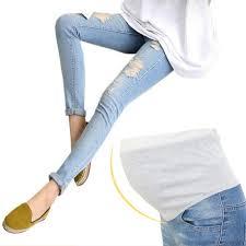 2019 <b>Nine</b> Hole Elastic Maternity <b>Pants Pregnancy</b> Denim <b>Jeans</b> ...