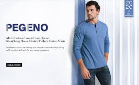 PEGENO <b>Men's Fashion Casual</b> Front Placket Short/Long Sleeve ...