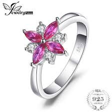 JewelryPalace Flowers 0.85ct Created <b>Ruby</b> Statement Ring 925 ...