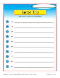 Factor This | 4th Grade Math WorksheetsMath Worksheets