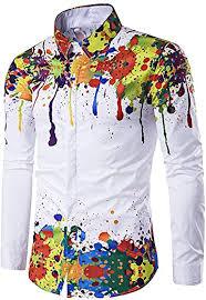 JMSUN <b>Summer Men</b> Colorful Splatter Paint Pattern <b>Turndown</b> ...