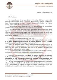 yarg da birlik derne i we publish hereafter the response letter association of judicial unity