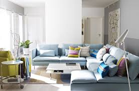 blue sofas living room: attractive ikea interior design idea for living room with light blue sofa appealing throw pillows and