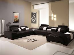 elegant leather cheap sectional sofas in black on white ceramics floor plus tan carpet matched with black white living room furniture