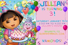 inspirational birthday party invitation cards and templates birthday invitations 3rd birthday party invitation card dora the explorer theme 19 inspirational