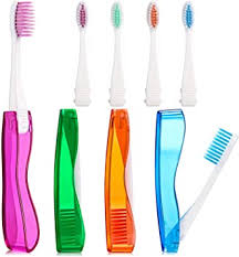 Pack of 4 Foldable Travel Toothbrush <b>Portable Soft</b> Toothbrush with ...