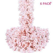 Oceanpax Artificial Cherry Blossom 6pcs <b>Silk Flower</b> Garland <b>Pink</b>