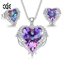 CDE Women Necklace Earrings Jewelry Set Embellished With ...