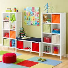 appealing kids playroom design ideas by white wooden shelves for boxes and toys placed on the astounding picture kids playroom furniture