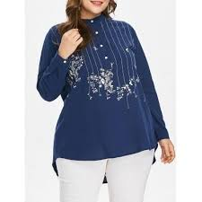 Mock Neck <b>Stripe Embroidered</b> High Low <b>Long Sleeved</b> Blouse 4266
