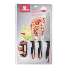 <b>Набор ножей 3 шт</b> с ножеточкой Urban Rondell RD-1011