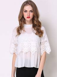 Lace <b>Hollow Out</b> Contrast O-Neck Half Sleeves Women's <b>T</b>-<b>Shirts</b> ...