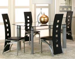 Five Piece Dining Room Sets Modern Black Glass Dinette Set Valencia Five Piece Dining Set