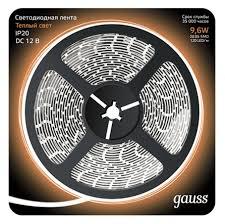 <b>Лента Gauss LED</b> 2835/120-SMD 9.6W 12V DC теплый белый ...