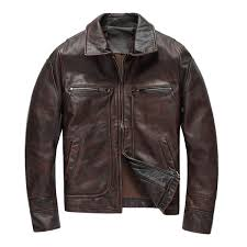 2019 <b>2018</b> Men Retro Vintage Brown Genuine <b>Leather</b> Jacket Plus ...
