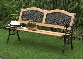garden bench metal wood combination ornaments art deco outdoor furniture