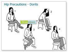 Image result for total hip precautions patient handout