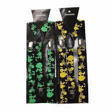 <b>Winfox</b> Vintage 2.5<b>cm Wide Black</b> Yellow Skull Suspenders Men ...