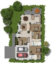 floor plans:  coloured floor plan from the bridgeway project