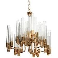 mid century 9 arm brass glass tube chandelier by hans agne jakobsson tolita lightinglighting pendantlighting chandelier pendant lighting