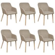 <b>Oak Indoor Fabric Dining</b> Chair Set 6 pcs with Armrest Beige Sale ...