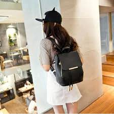 Online Shop Black School Supplies <b>Backpack Female PU Leather</b> ...