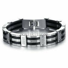 <b>Stainless</b> Steel <b>Bangle Silicone</b> No Stone <b>Bracelets</b> for <b>Men</b> for sale ...