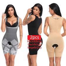 <b>2PCS</b> Women Full <b>Body Shaper</b> Waist Trainer Girdle Thigh Reducer ...