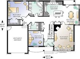 House plan W detail from DrummondHousePlans com    st level Modern Bungalow Ranch   home office  to bedrooms  master bedroom