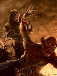 he is the first monster that beowulf kills also he is enormous this digital drawing depicts the fight scene between beowulf and grendel in herot beowulf s immense