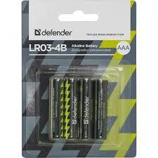 <b>Батарейка AAA</b> щелочная <b>Defender</b> LR03-4B, alkaline, в ...