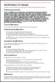 dental nurse cv sample   curriculum vitae builderdental nurse cv sample