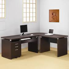 m delightful small computer table on wheels modern home office desk with dark brown wood l shaped desk along keyboard rack and drawer cabinet on cream blue home office dark wood