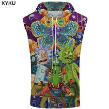 <b>KYKU</b> Brand <b>Rick And Morty</b> Hooded Tank Top Colorful Stringer ...