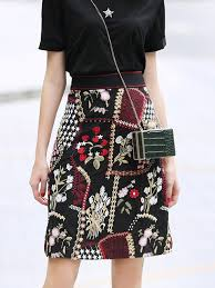 Black A-Line Embroidered <b>Casual Floral Daily</b> Midi Skirt