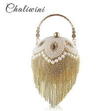 <b>Tassel Fashion Women Pearl</b> Beaded Crystal Party Evening Bag ...