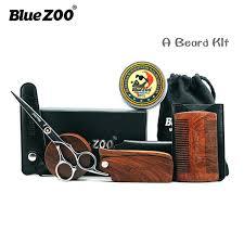 <b>9pcs</b> kit <b>Boar Bristles</b> Beard Brush and Comb Scissors Grooming Kit ...