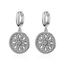 <b>New Fashion</b> 925 Sterling Silver CZ Cubic Zirconia <b>Round Dangle</b> ...