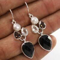 Mystic Quartz <b>Natural Gemstone</b> 925 Sterling Silver <b>1.37</b> Ct Dangle ...